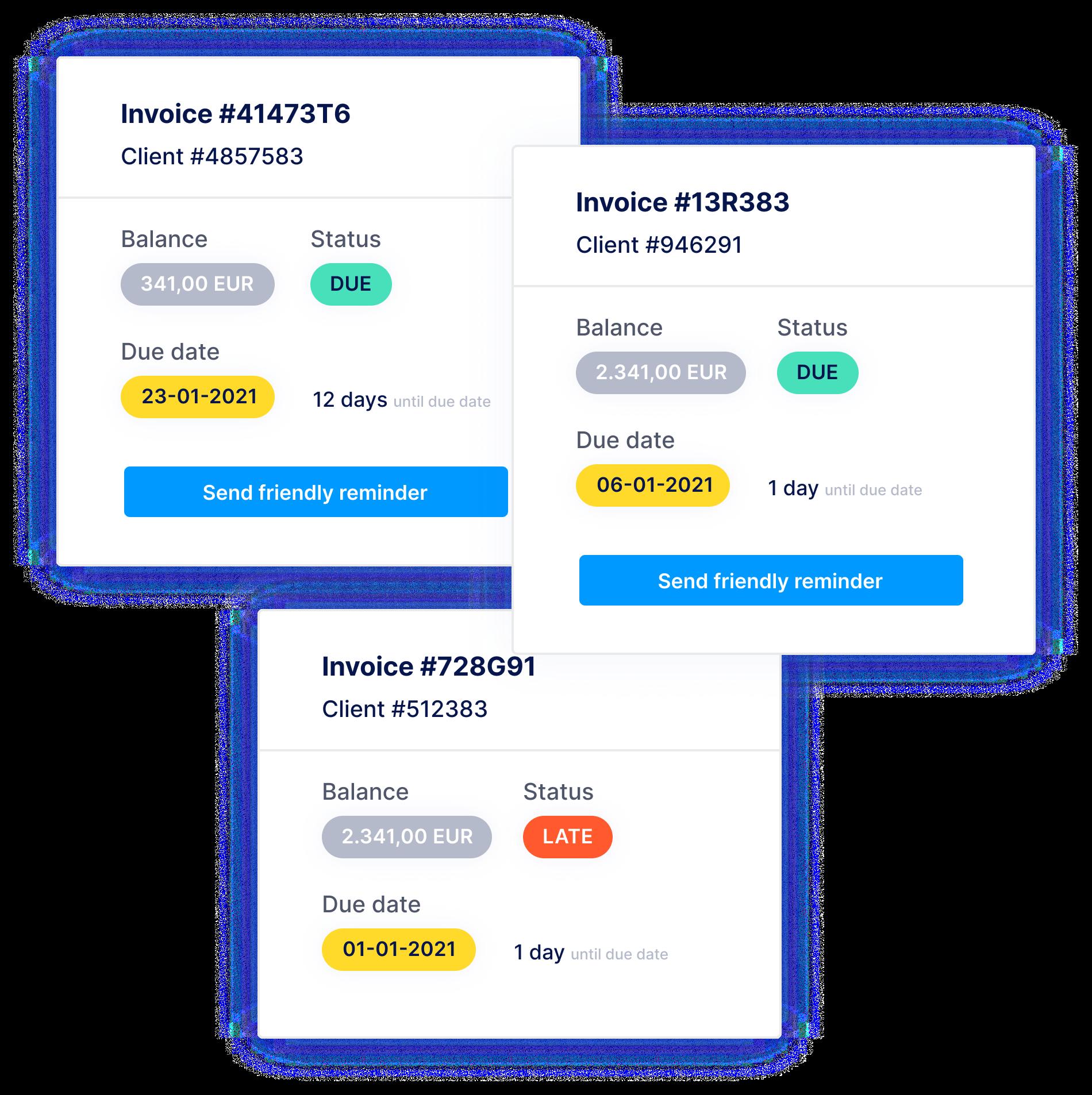 Gérez proactivement votre process de facturation. Souvent les rappels ne sont envoyés qu'après la date d'échéance de la facture, mais notre outil permet de l'envoyer déjà quelques jours avant. Vous recevrez le paiement plus vite et plus facilement.