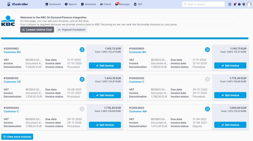 KBC On-Demand Financing Integration in iController